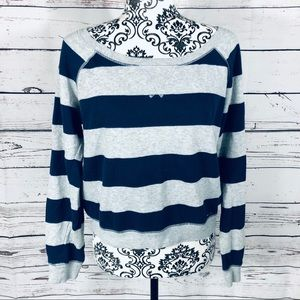 Garage Striped Cropped Wide Neck Sweatshirt Large